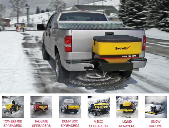 Snowex salt spreaders and ice control systems. Tow behind spreaders, tailgate spreaders, dump box spreaders, V-box spreaders, liquid sprayers, snow brooms